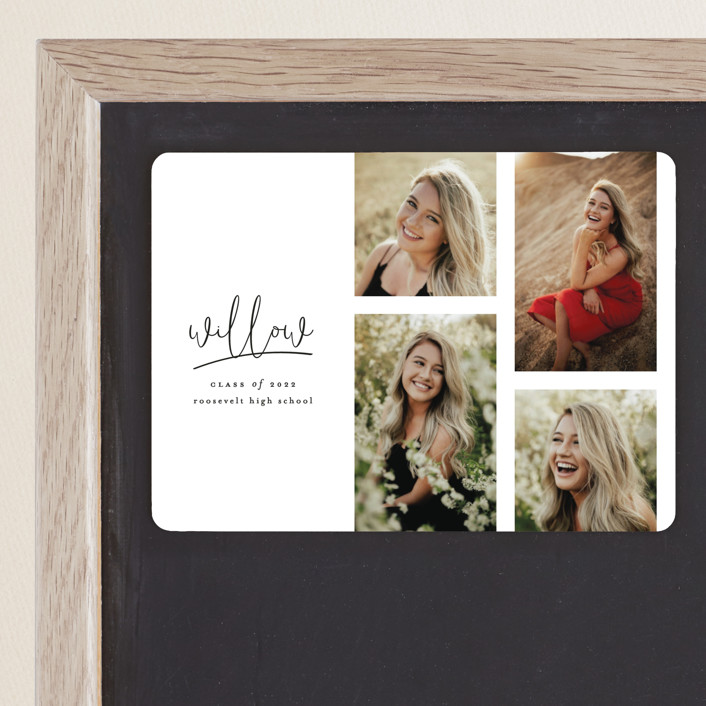 """""""FOUR"""" - Graduation Announcement Magnets in Cotton by Ashlee Townsend."""