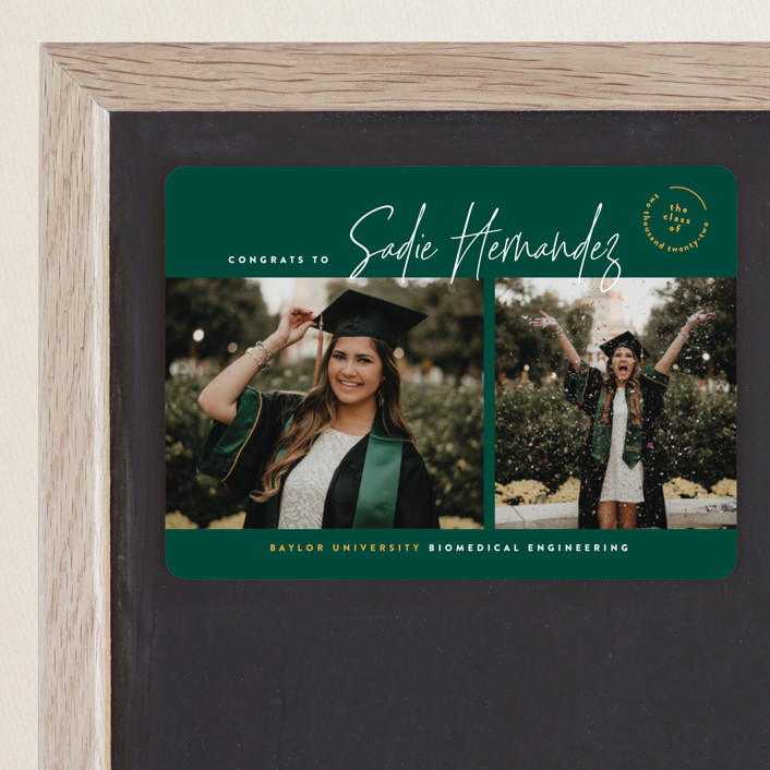 """The School Colors"" - Graduation Announcement Magnets in Emerald by Owl and Toad."
