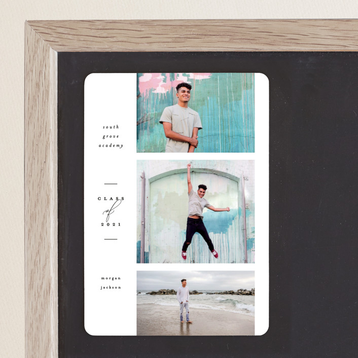 """Photo Reel"" - Graduation Announcement Magnets in Cotton by Everett Paper Goods."