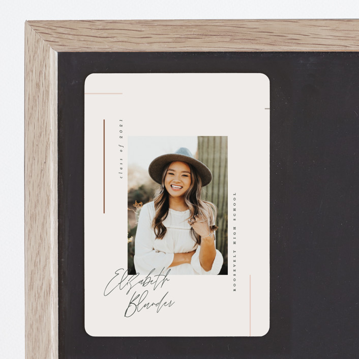 """""""Aligned"""" - Graduation Announcement Magnets in Desert Rose by Carolyn Nicks."""
