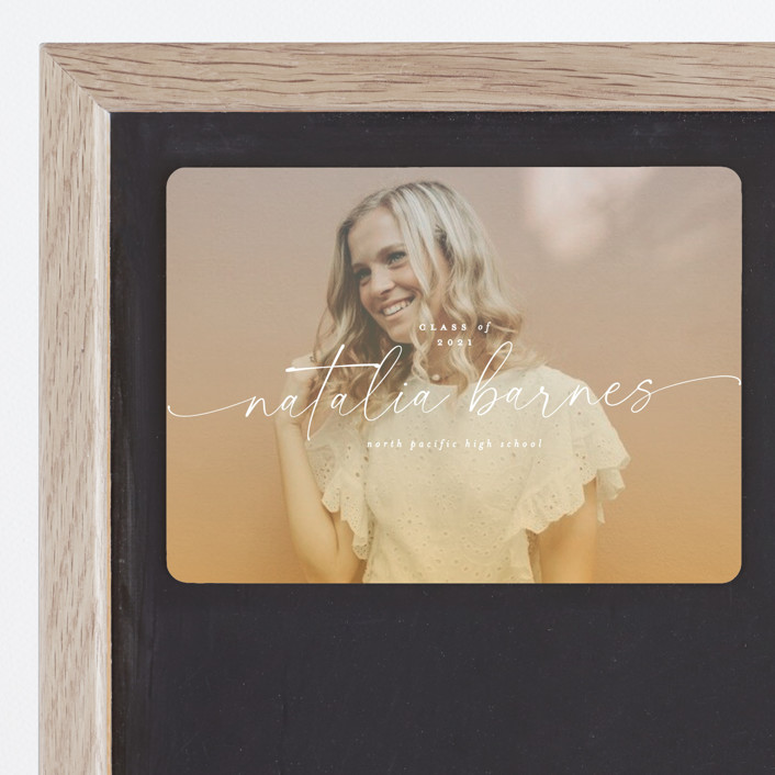 """""""Poetic"""" - Graduation Announcement Magnets in Sunset by Everett Paper Goods."""