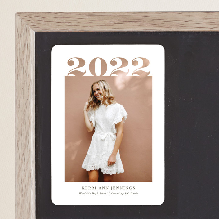 """""""2020 Cutout"""" - Graduation Announcement Magnets in Ivory by Yaling Hou Suzuki."""