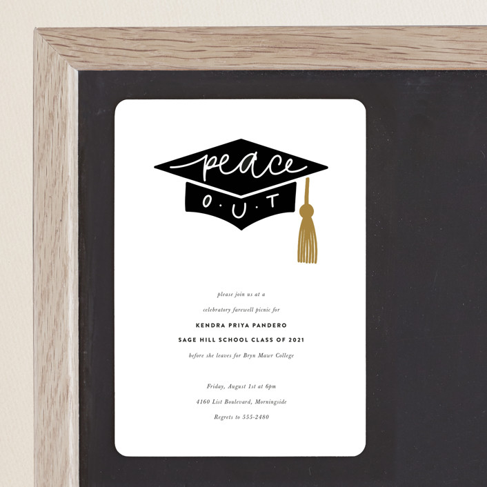"""""""peace out"""" - Graduation Announcement Magnets in Champagne by Up Up Creative."""