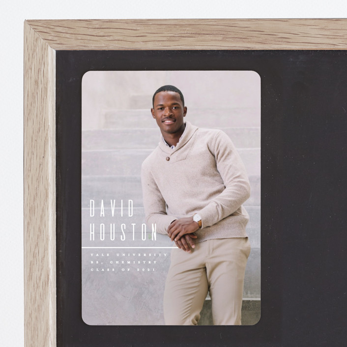 """""""Minimal"""" - Graduation Announcement Magnets in Quartz by Owl and Toad."""