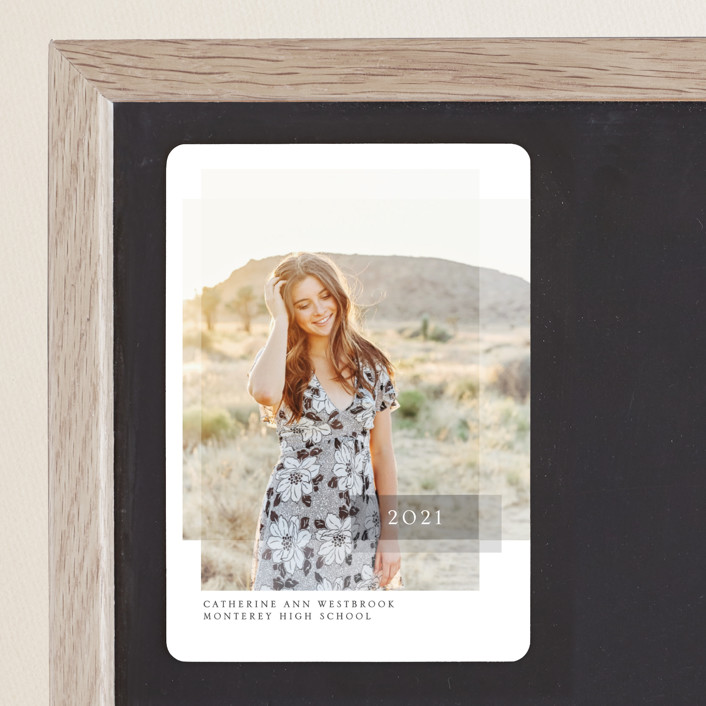 """""""Layered"""" - Graduation Announcement Magnets in Pebble by Erin Deegan."""