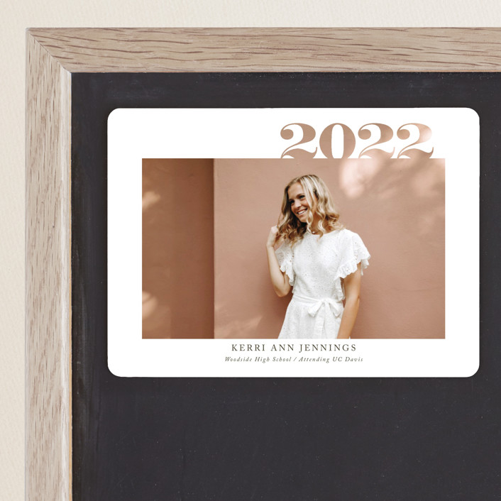 """2020 Cutout"" - Graduation Announcement Magnets in Ivory by Yaling Hou Suzuki."