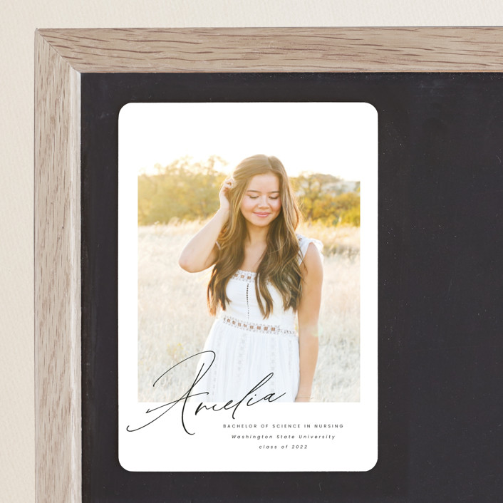 """Signed"" - Graduation Announcement Magnets in Crystal by Ink and Letter."
