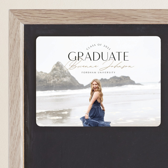 """Signed Graduate"" - Graduation Announcement Magnets in Onyx by Nicole Barreto."
