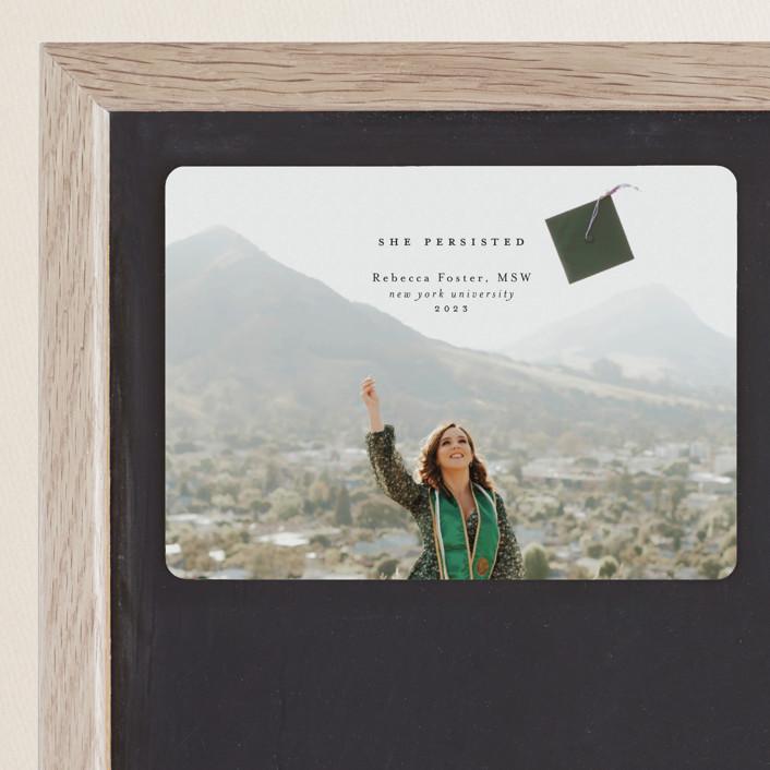 """""""She Persisted"""" - Graduation Announcement Magnets in Graphite by Calluna Fine Paper."""