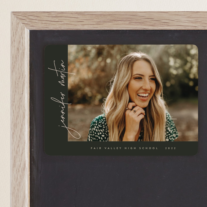 """""""Aligned"""" - Graduation Announcement Magnets in Spruce by JoAnn Jinks."""