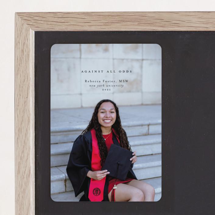 """Against All Odds"" - Graduation Announcement Magnets in Graphite by Calluna Fine Paper."