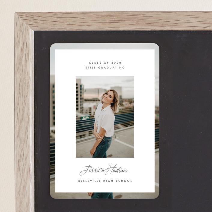 """Double Photo"" - Modern Graduation Announcement Magnets in Salt by Monika Drachal."
