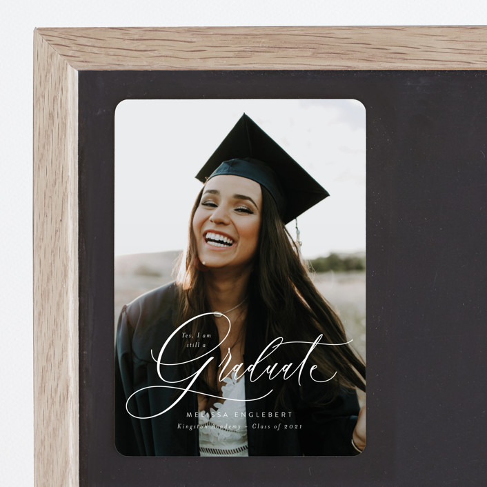 """""""Impression"""" - Graduation Announcement Magnets in Winter by Itsy Belle Studio."""