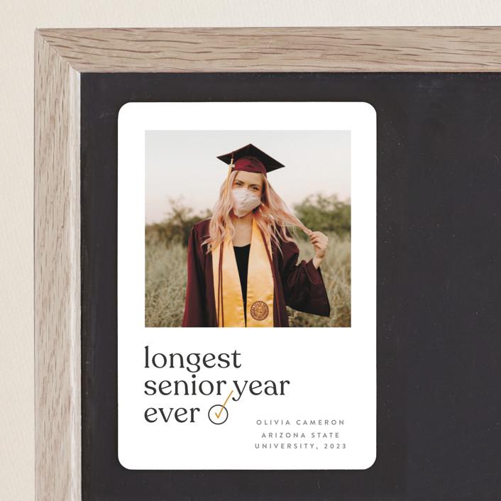 """longest ever"" - Funny, Modern Graduation Announcement Magnets in Mustard by JoAnn Jinks."