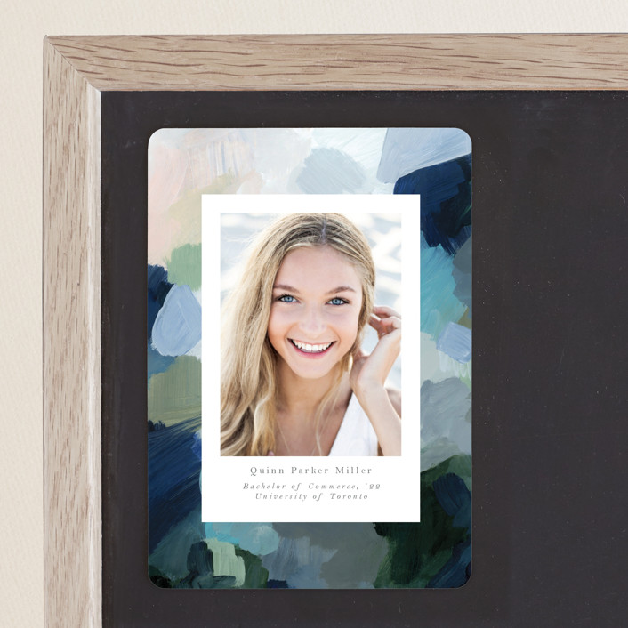 """abstraction"" - Modern Graduation Announcement Magnets in Ocean by Nicole Walsh."