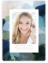 This is a blue graduation announcement magnet by Nicole Walsh called abstraction with standard printing on magnet paper in magnet.