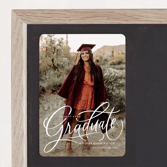 """Script Grad"" - Graduation Announcement Magnets in Cloud by Erin German."