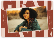 This is a orange graduation announcement magnet by Erica Krystek called Snapshot with standard printing on magnet paper in magnet.