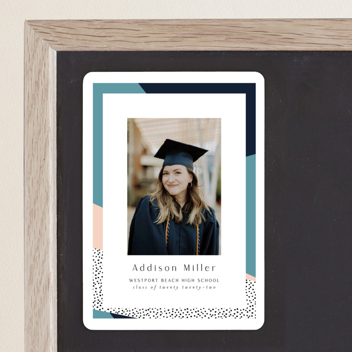 """""""Bold Border"""" - Modern, Preppy Graduation Announcement Magnets in Pink Lemonade by Nicole Walsh."""