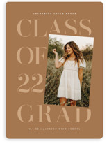 This is a brown graduation announcement magnet by Lauren Chism called Tilt with standard printing on magnet paper in magnet.