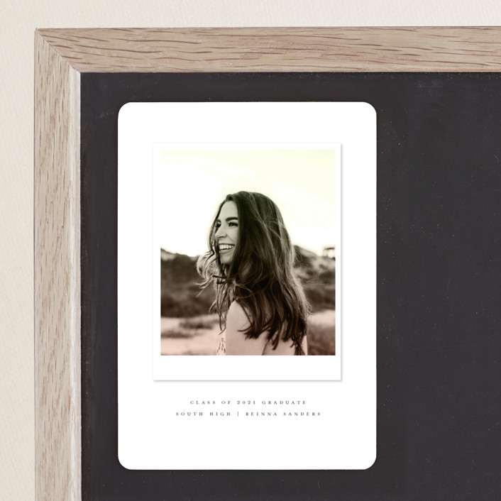 """Vintage Snapshot"" - Graduation Announcement Magnets in Sage by Grace Kreinbrink."