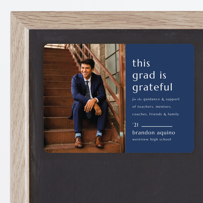 """""""Grateful Grad"""" - Modern, Preppy Graduation Announcement Magnets in Caramel by Griffinbell Paper Co.."""