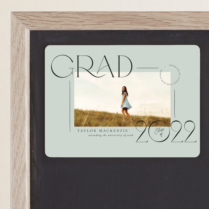 """""""Mod Grad"""" - Modern Graduation Announcement Magnets in Mint by Wildfield Paper Co."""