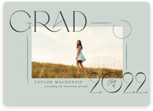 This is a green graduation announcement magnet by Wildfield Paper Co called Mod Grad with standard printing on magnet paper in magnet.