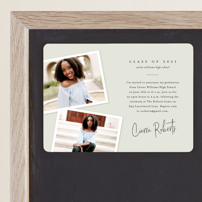 """""""Personal invite"""" - Modern, Preppy Graduation Announcement Magnets in Tan by Stacey Meacham."""