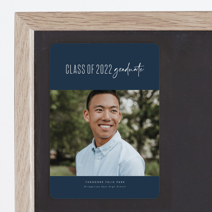 """One and done"" - Funny, Preppy Graduation Announcement Magnets in Jeans by Lea Delaveris."