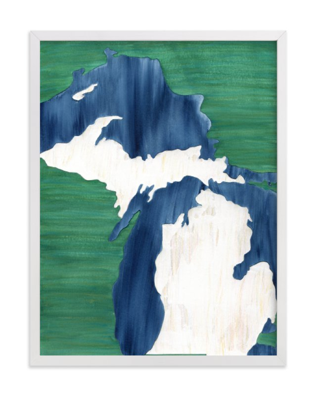 This is a blue art by Denise Wong called Michigan in Paint.
