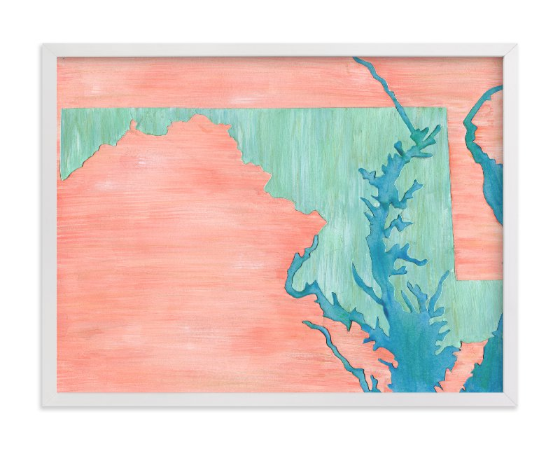 This is a blue art by Denise Wong called Maryland in Paint.