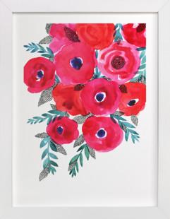 Red flowers bouquet Art Print