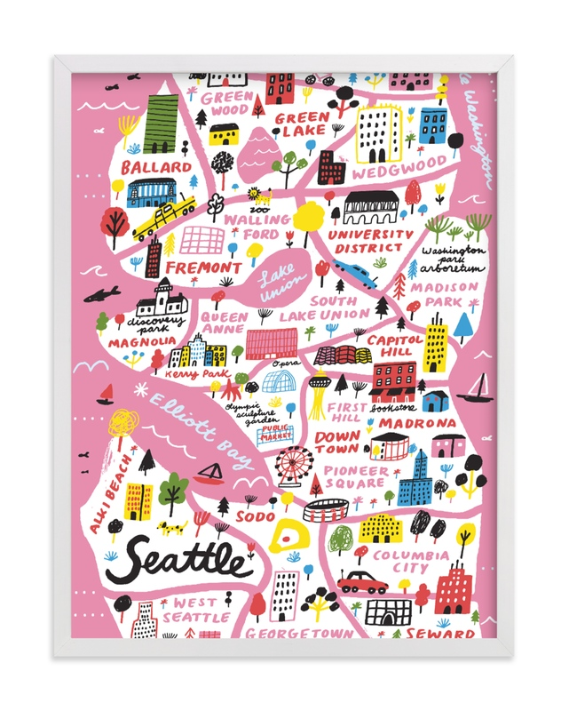 """""""I Love Seattle"""" - Limited Edition Art Print by Jordan Sondler in beautiful frame options and a variety of sizes."""