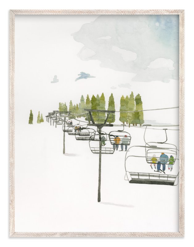 """""""Ski Lift"""" - Limited Edition Art Print by Monica Loos in beautiful frame options and a variety of sizes."""