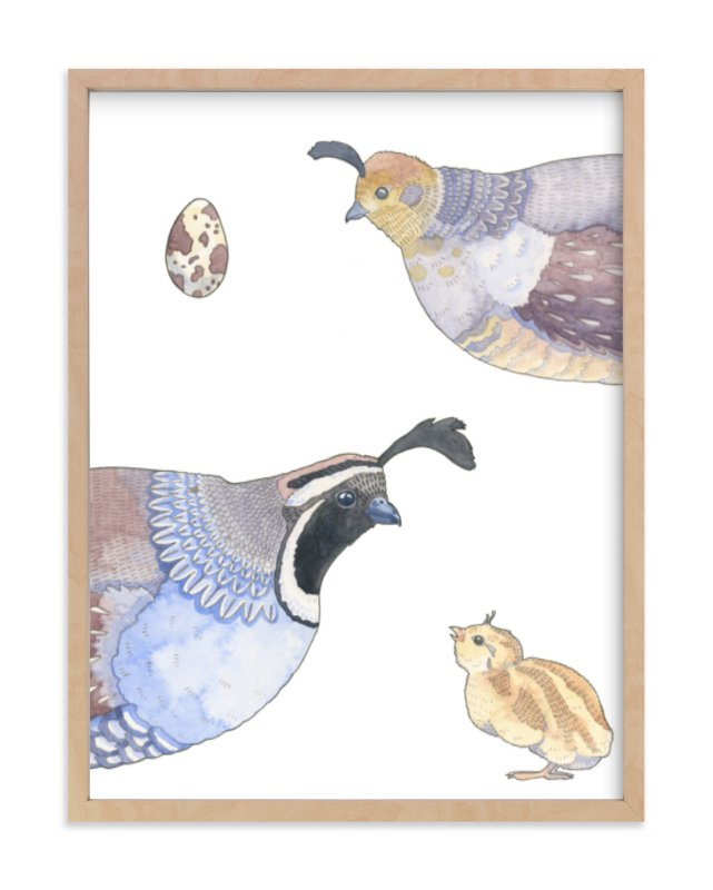 """""""The Quail Family"""" - Limited Edition Art Print by Natalie Groves in beautiful frame options and a variety of sizes."""