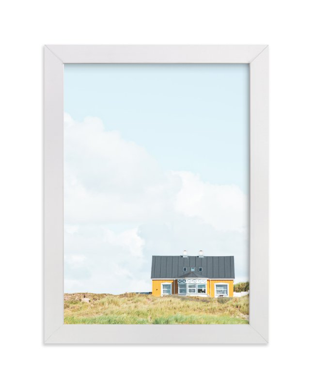 """""""Yellow House At The Hill"""" - Limited Edition Art Print by Alexandra Feo in beautiful frame options and a variety of sizes."""