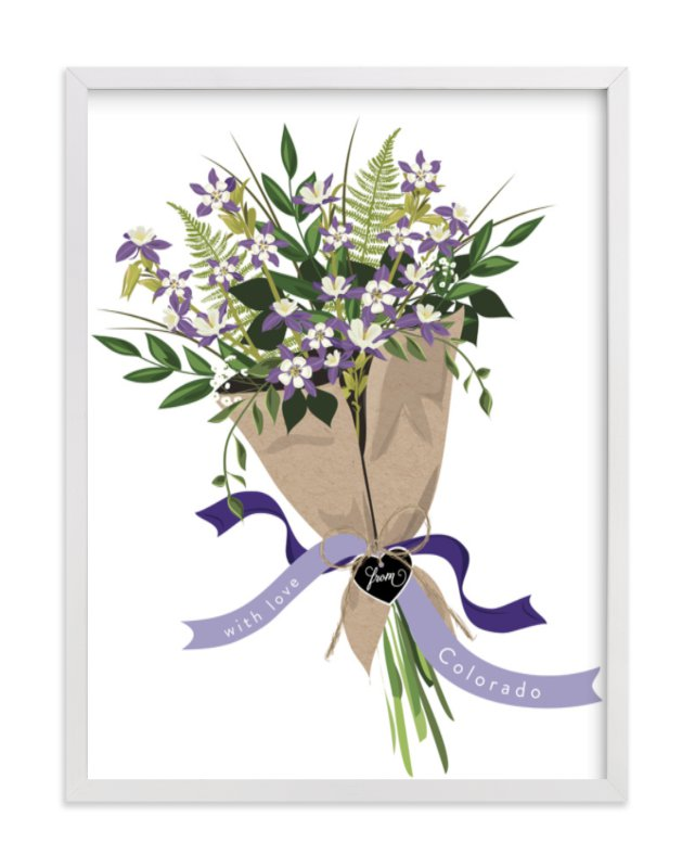 This is a blue art by Susan Moyal called Colorado Blue Columbine Bouquet.
