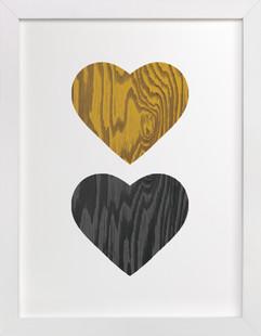 Wood Grain Hearts Art Print