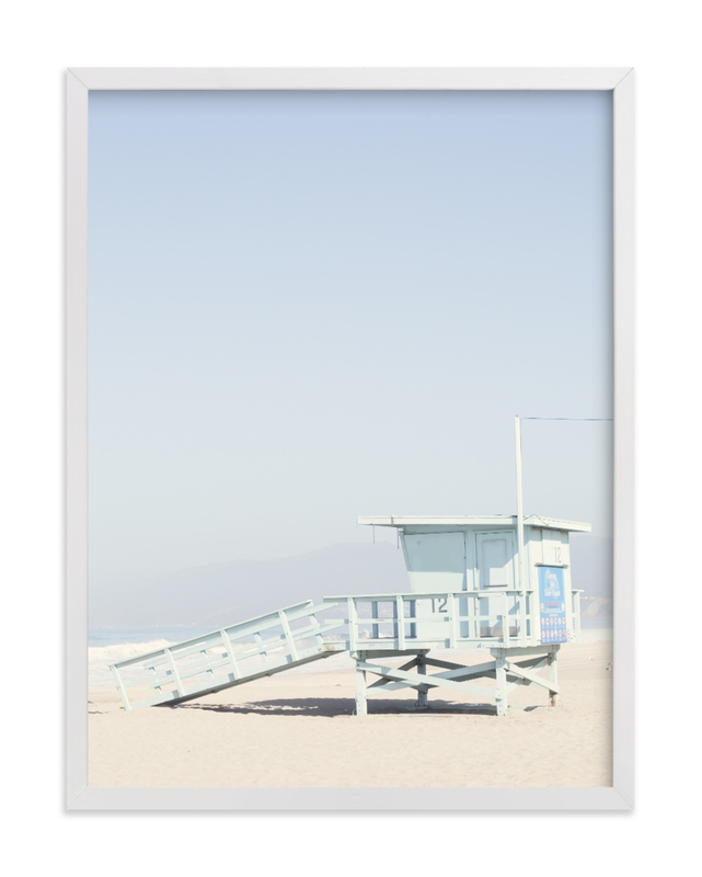 This is a blue art by Caroline Mint called The Pastel Blue Lifeguard House with standard.
