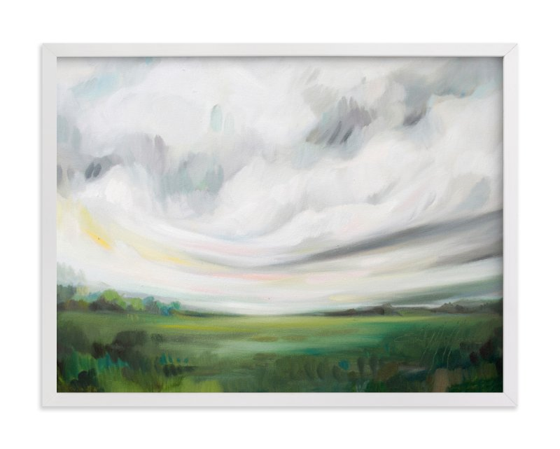 This is a white art by Emily Jeffords called Mornings Away with standard.