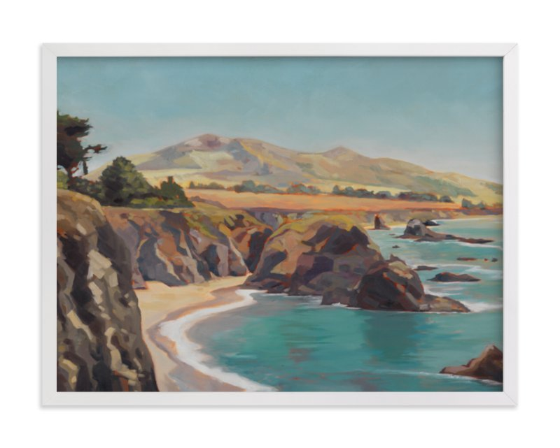 This is a blue art by Amanda Phelps called The Wild Sonoma Coast with standard.