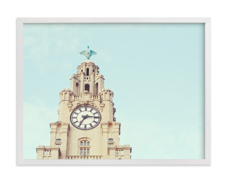 This is a white art by Stacy Cooke called liver bird.