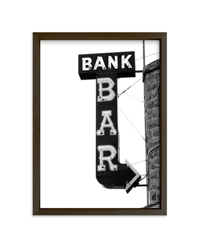 """""""Bank Bar"""" - Limited Edition Art Print by Calais A Le Coq in beautiful frame options and a variety of sizes."""