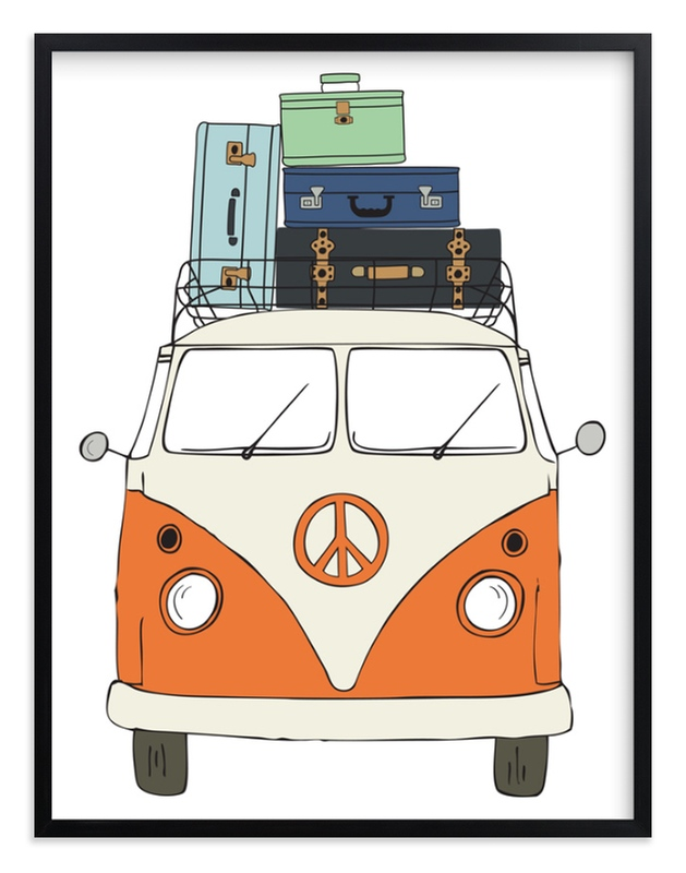 """The Peace Van on the Road"" - Limited Edition Art Print by Alston Wise in beautiful frame options and a variety of sizes."