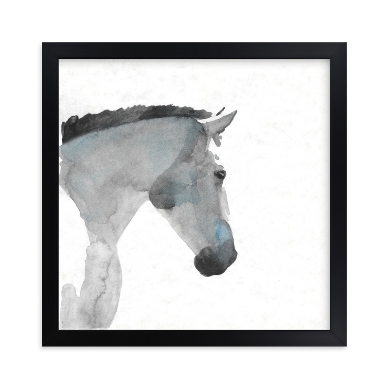 """""""White Stallion in Profile"""" - Limited Edition Art Print by Stephanie Toral in beautiful frame options and a variety of sizes."""