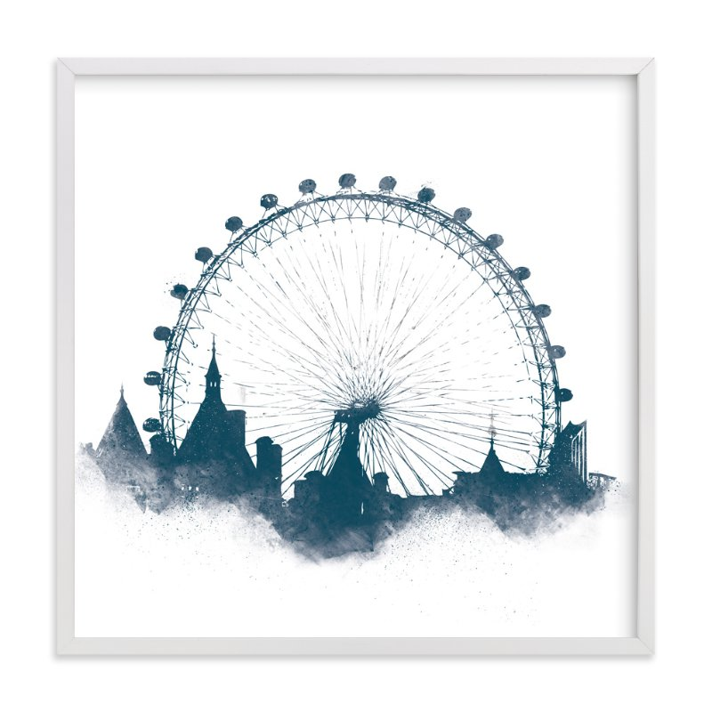This is a blue art by Paul Berthelot called London Eye.