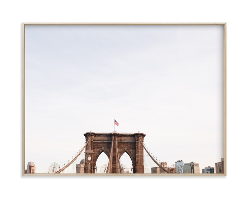 """""""Minimalist's View of the Brooklyn Bridge"""" - Limited Edition Art Print by The One With Wanderlust in beautiful frame options and a variety of sizes."""