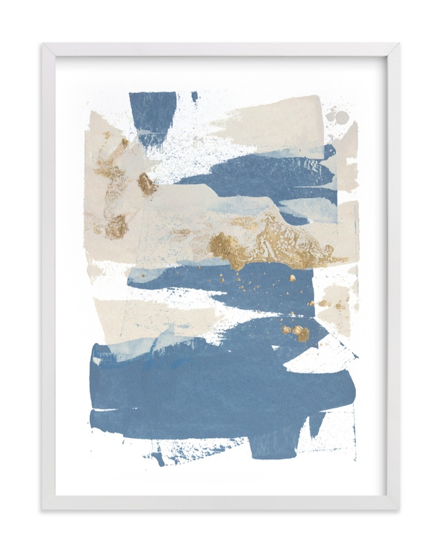 This is a blue art by Julia Contacessi called On the Rocks No. 1.