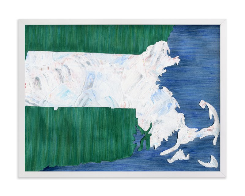 This is a blue art by Denise Wong called Massachusetts in Paint.